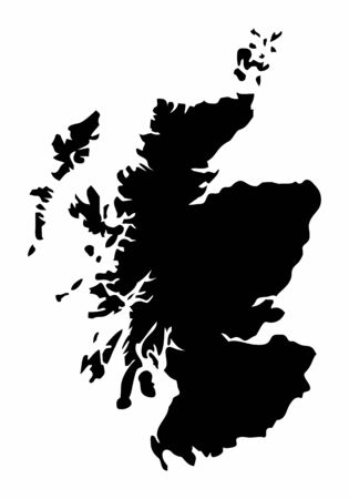 Scotland dark silhouette map isolated on white background