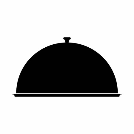 Food dome dark silhouette isolated on white background Ilustração