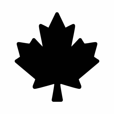 A black Maple leaf icon isolated on white background