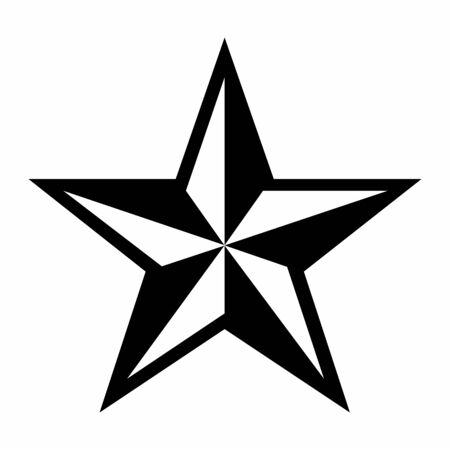 Five pointed pinwheel star isolated on white background Ilustração