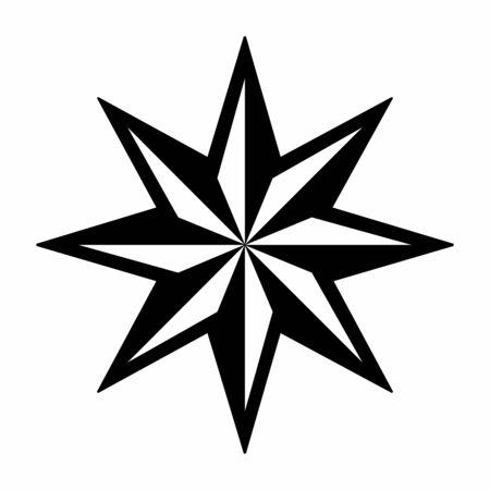Stella a girandola a otto punte isolata su sfondo bianco