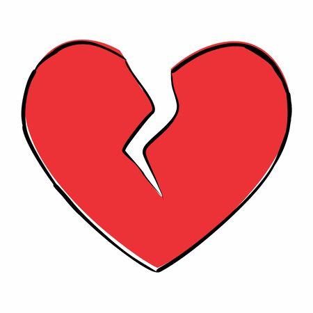 Broken heart freehand icon