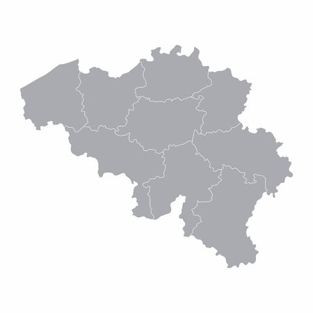 A gray map of Belgium divided into regions
