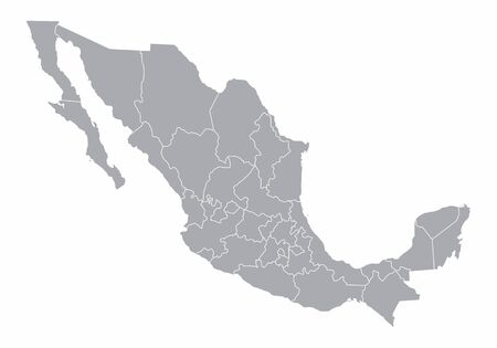 A gray map of Mexico divided into provinces Illustration