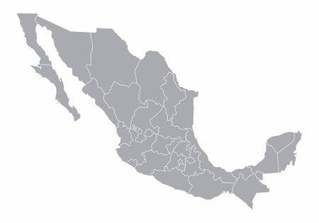 Un mapa gris de México dividido en provincias Ilustración de vector