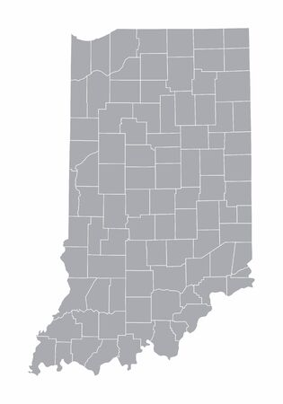 A gray Map of Indiana and its counties Ilustração