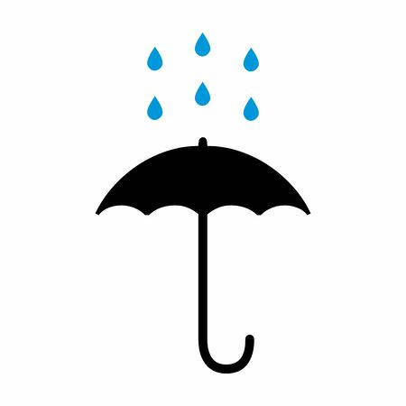 A colorful Rain and Umbrella icon on white background 向量圖像