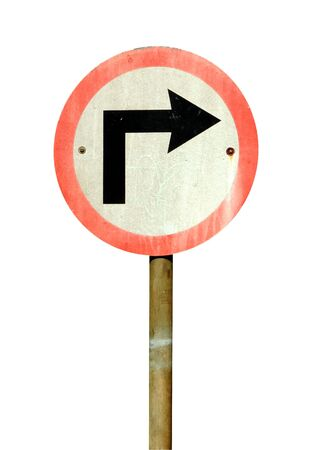 Right turn road sign isolated on white background