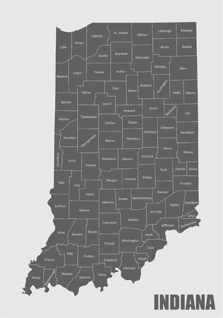 A Map of Indiana and its counties with labels
