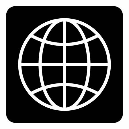 A white Globe icon illustration on the dark background