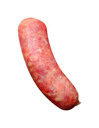 An Isolated raw sausage on the white background Banco de Imagens