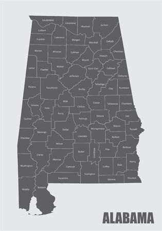 A Map of Alabama and its counties with labels