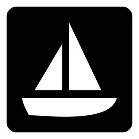 A white Boat icon illustration on the dark background