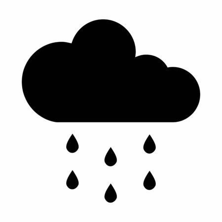 A black Cloud rain icon isolated on white background