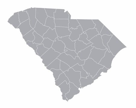 The South Carolina isolated map and its counties Ilustração