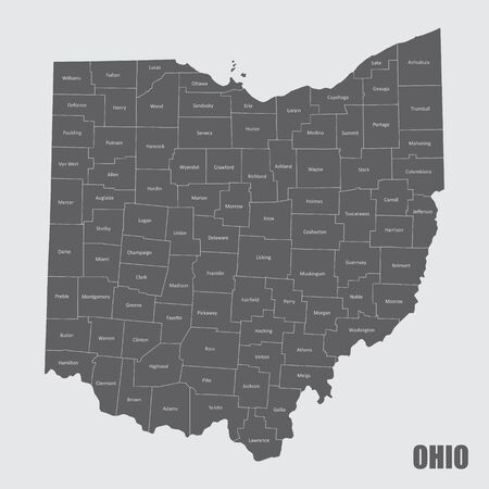 A map of the Ohio State and its counties with labels