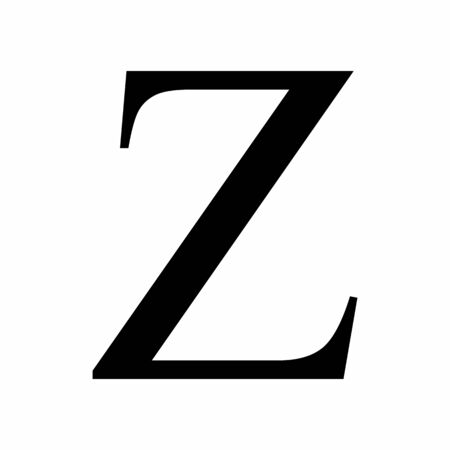 Uppercase Zeta greek letter icon on white background