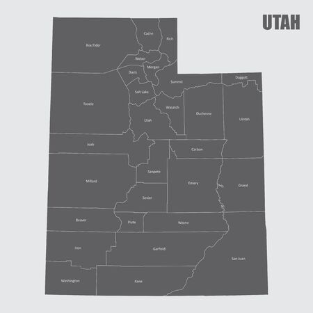The Utah State counties map with labels