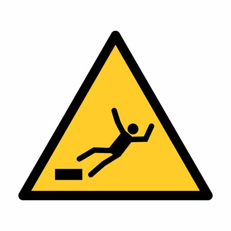 The Falling hazard sign isolated on white background Иллюстрация