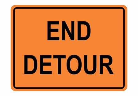 End Detour Sign illustration on white background
