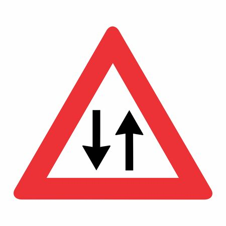 Two Way Traffic Road Sign illustration on white background 矢量图像