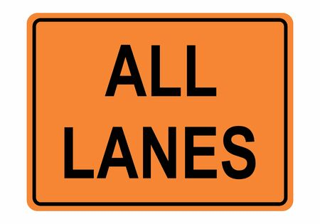 All Lanes Road sign illustration on white background Illustration