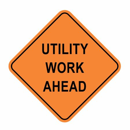 Utility work ahead road sign illustration on white background Vetores