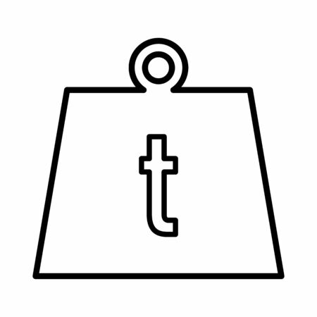 Weight ton icon. Black outlines on white background.