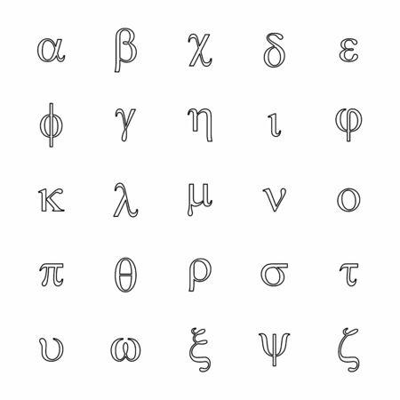 Greek letters icons set. Black outlines on white background. Ilustração
