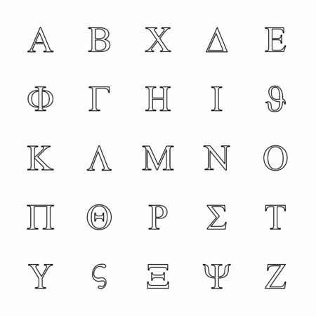 Uppercase Greek letters icons set. Black outlines on white background.