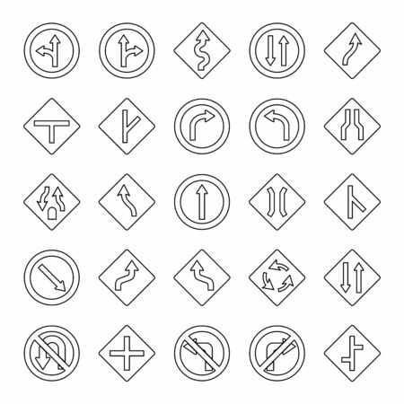 Traffic signs set illustration. Black outlines on white background. Stock Illustratie