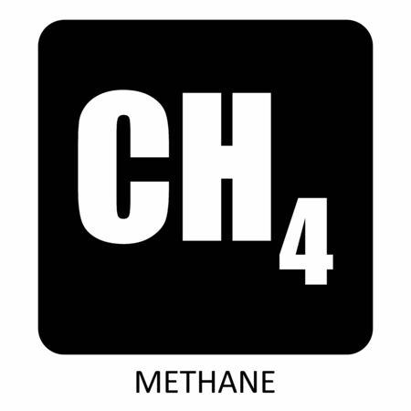 CH4 Methane formula icon on dark background with label