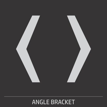 Angle Bracket icon illustration on gray background with label