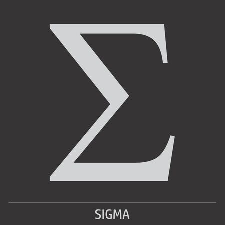 Uppercase Sigma greek letter icon illustration on gray background with label