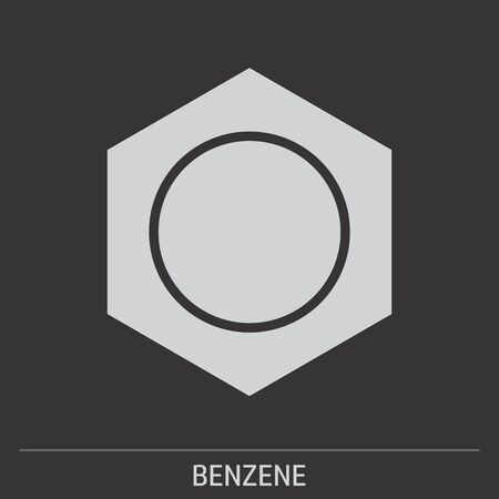 Benzene icon illustration on gray background with label