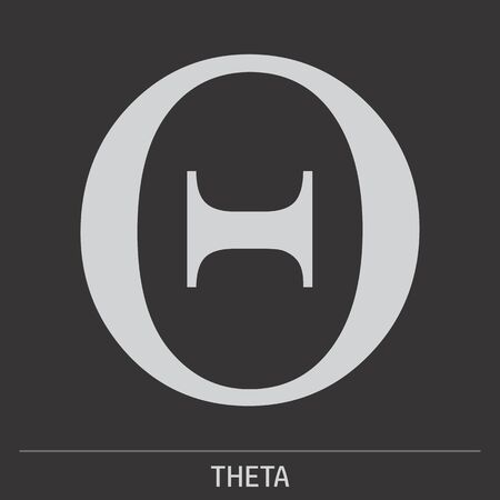 Uppercase Theta greek letter icon illustration on gray background with label