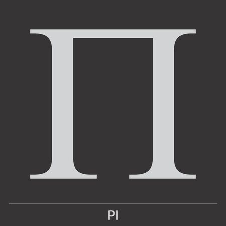 Uppercase Pi greek letter icon illustration on gray background with label