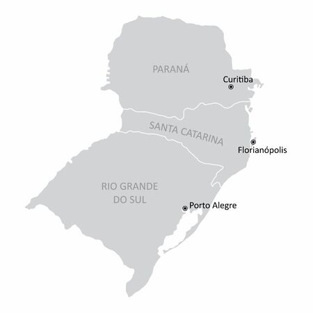 Map of the Brazil south region with the main cities isolated on white background