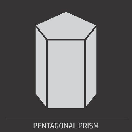 Pentagonal prism icon illustration on gray background with label Çizim