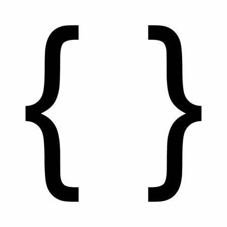 Curly bracket icon illustration on white background Stock Illustratie
