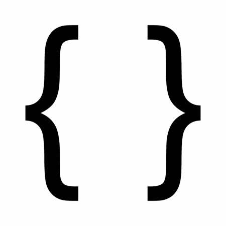 Curly bracket icon illustration on white background Illustration