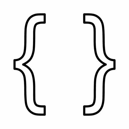 Curly bracket linear icon illustration on white background Illustration
