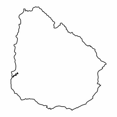 Uruguay outline map isolated on white background