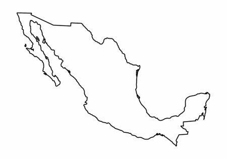 Mexico outline map isolated on white background
