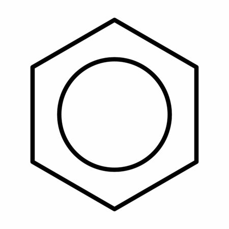 Benzene linear icon illustration on white background
