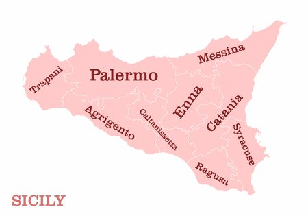 Sicily regions map with labels isolated on white background Ilustração