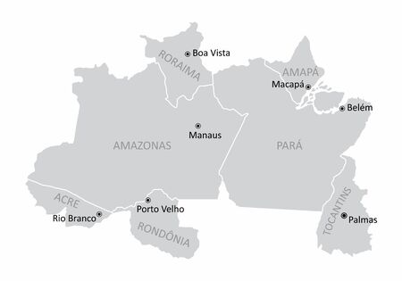 Map of the Brazil north region with the main cities isolated on white background