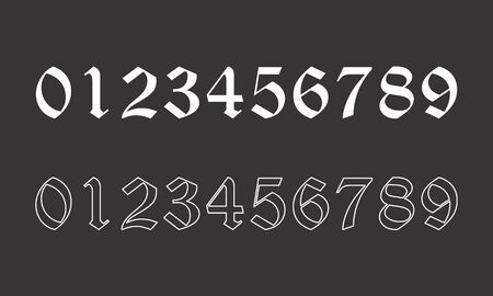 Old style numbers set on dark background