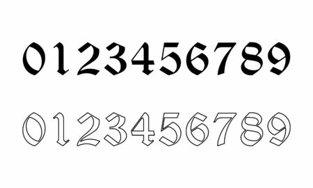 Old style numbers set on white background