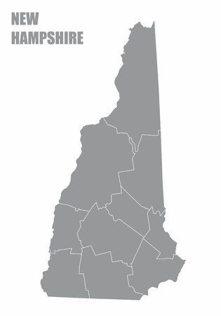 The New Hampshire State Counties Map isolated on white background